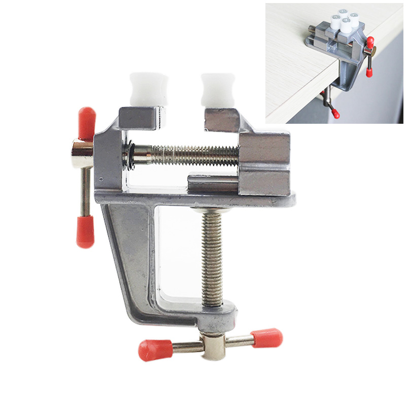 YEODA 1PC Mini Desktop Vise High Quality New Aluminum Small Jewelers Hobby Clamp On Table Bench Vise Mini Hand Tool image