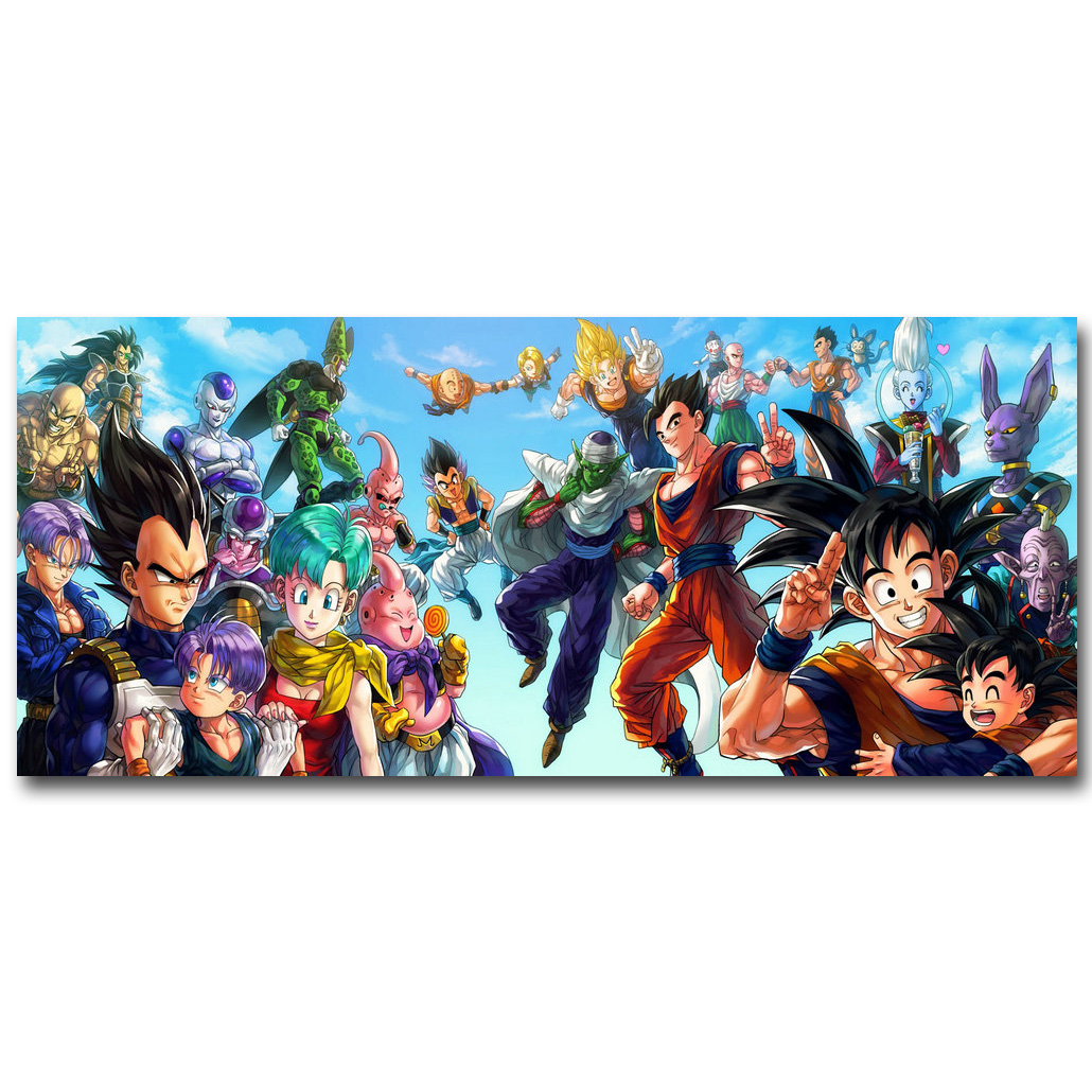 Dragon Ball Z Art Silk Fabric Poster Print 13×30 24x55inch Japanese Anime Goku Picture for Living Room Wall Decor Gift 057