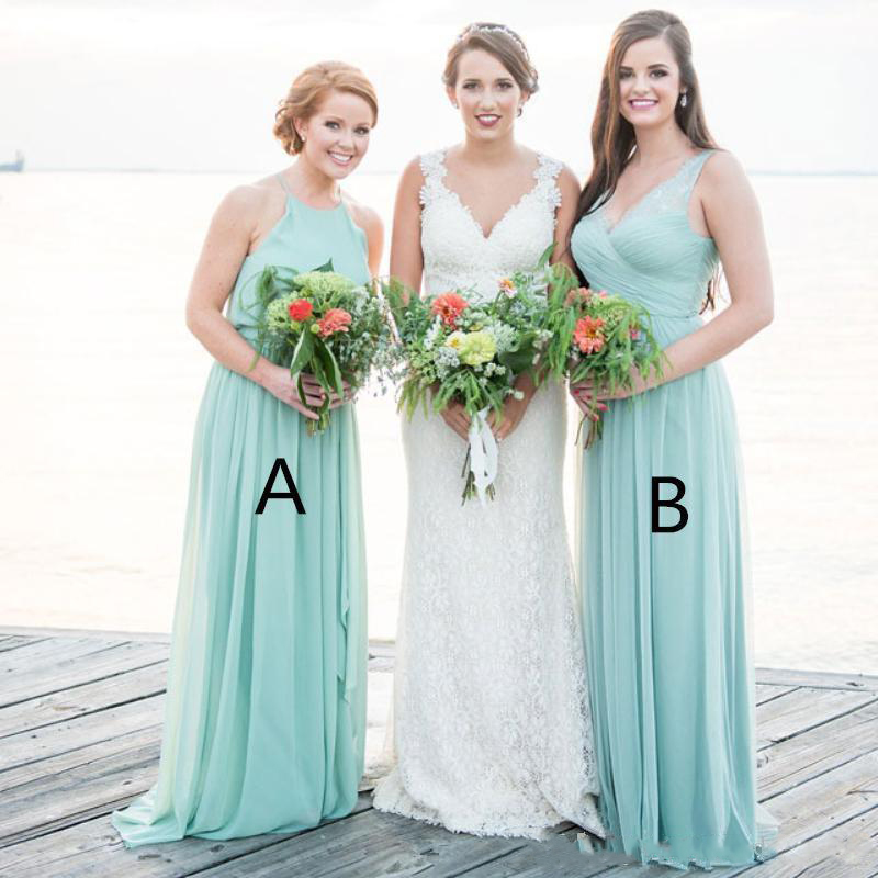 2019 Green Two Difference Neckline   Bridesmaid     Dresses   Cheap Long Ruched Chiffon Wedding Guest   Dress   A Line Party Gowns