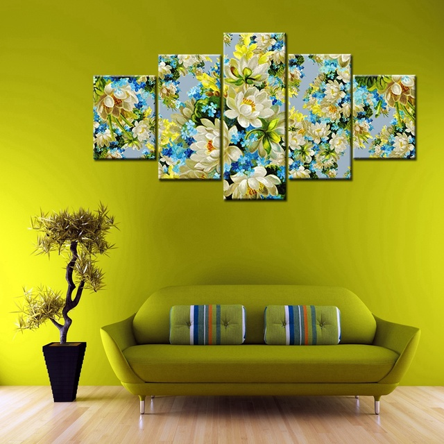 White The Jasmine Flowers Oil Painting Print Canvas High Quality ...