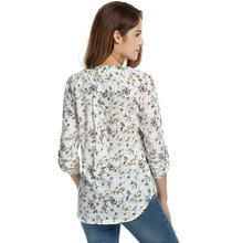 New V-Neck Floral Print Cotton Shirt For Women