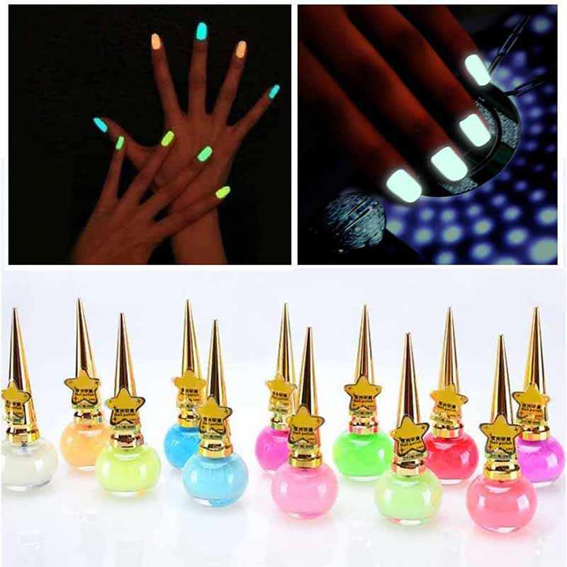 12 colors 14ML Fashion Nail Polish Non-toxic Fluorescent Neon Luminous Gel Nail Polish for Glow in Dark for Women Children