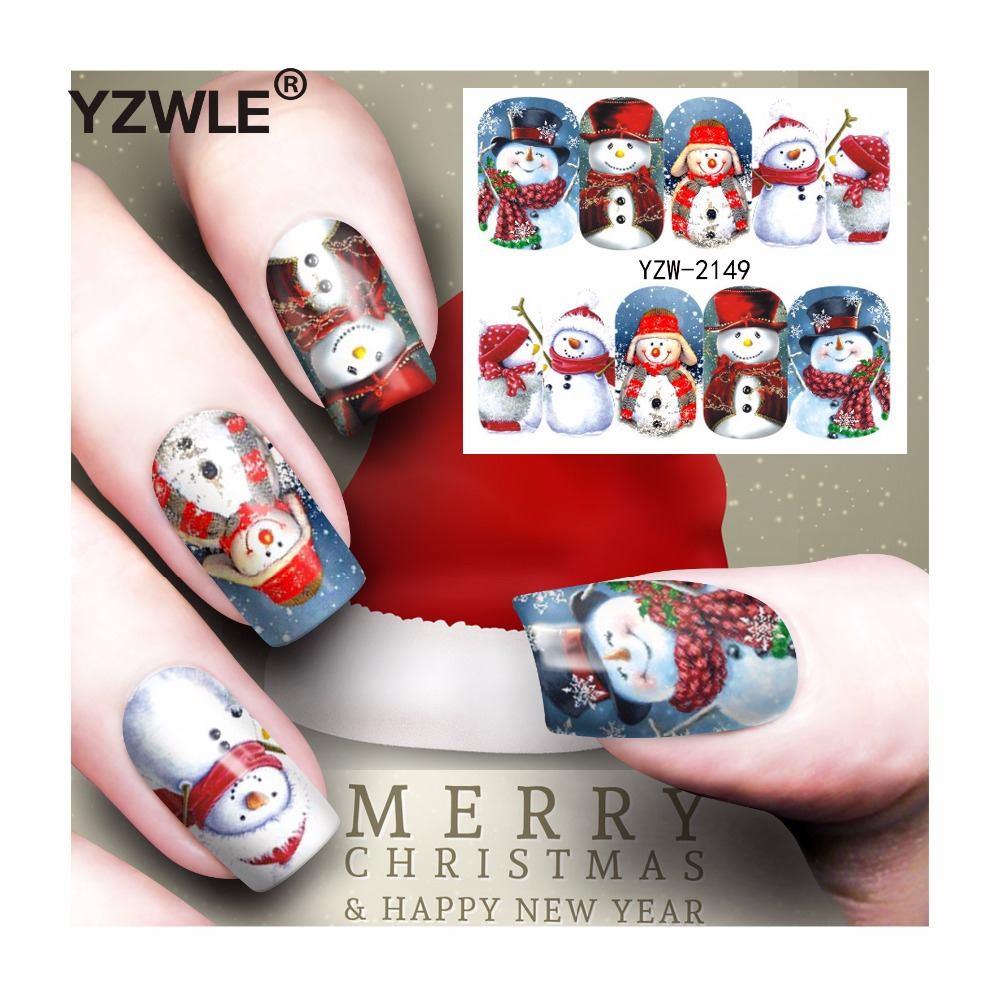YZWLE 1 Sheet Christmas Design DIY Decals Nails Art Water Transfer Printing Stickers Accessories For Manicure Salon (YZW-2149) yzwle 1 sheet hot gold 3d nail art stickers diy nail decorations decals foils wraps manicure styling tools yzw 6015