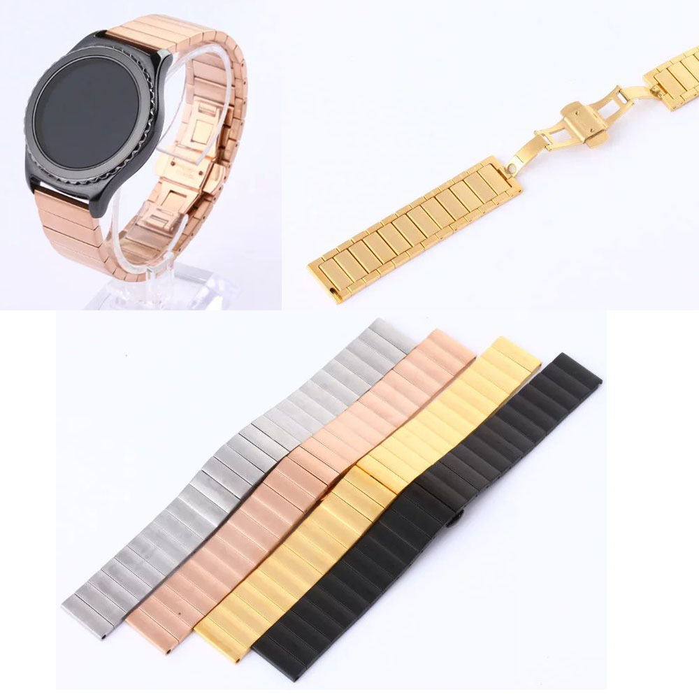Stainless Steel Bamboo Style Wrist Strap With Butterfly Clasp Watch Band For Samsung Gear S2 Classic SM-R732 Bracelet superior new pu leather loop type watch band strap for samsung gear s2 classic sm r732 mar22