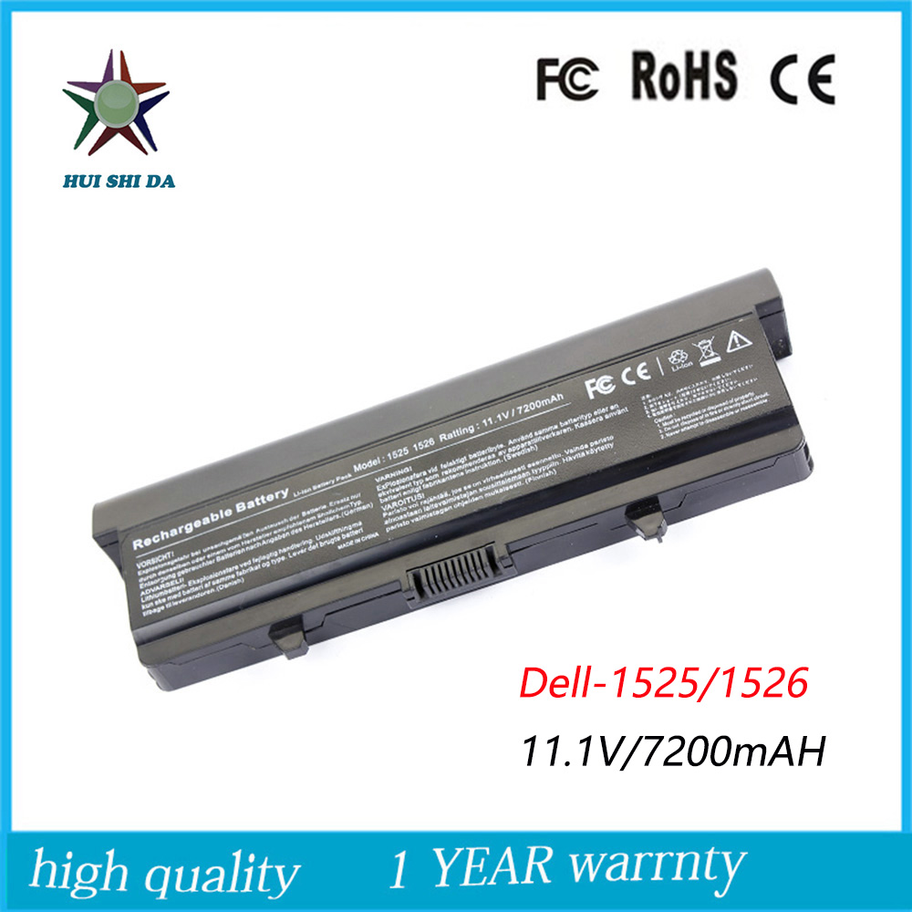 9cells 11 1V 7200mah High Quality New Laptop Battery for Dell 1525 1526 1545 1546