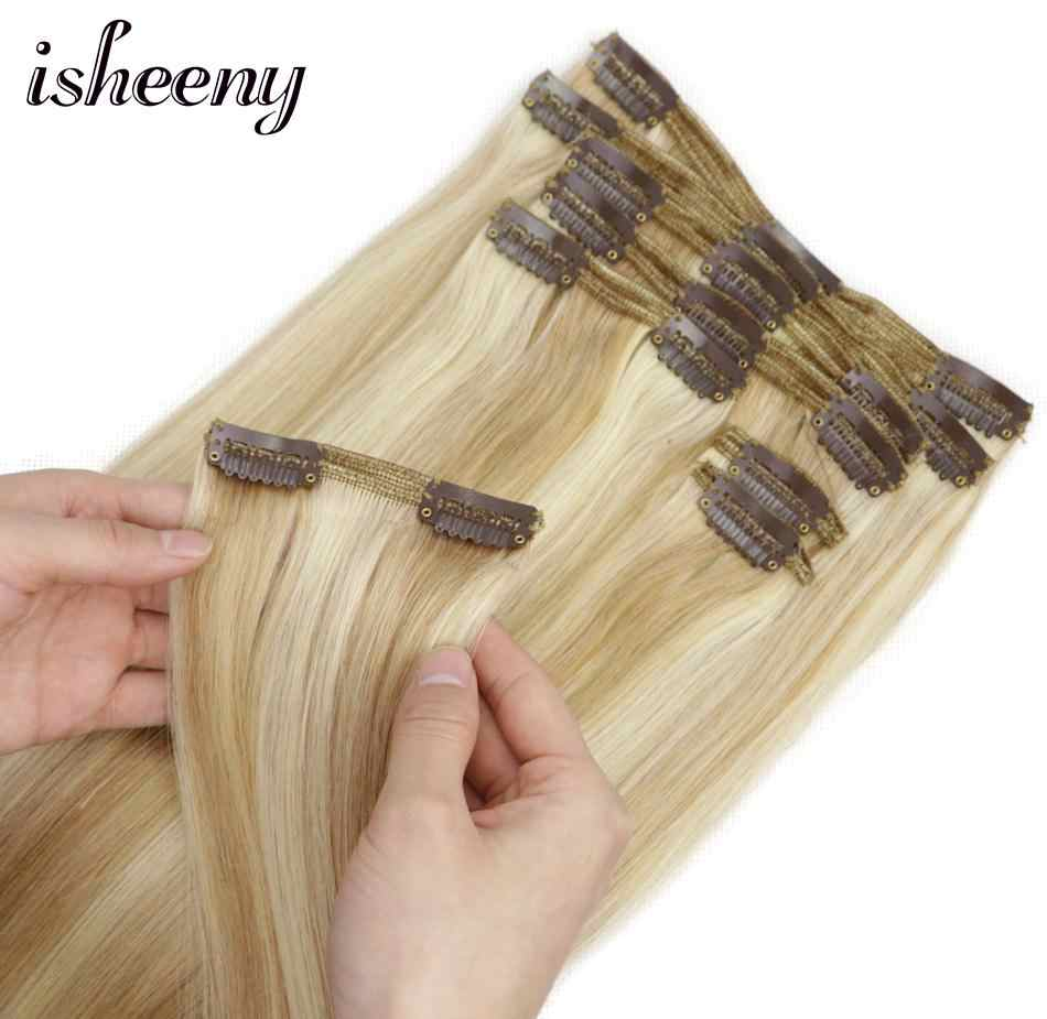 ISHEENY 100% Real Remy Grampo Em Extensões Do Cabelo Humano de piano Cor 27/613 #8 pçs/set extensões de cabelo clipe