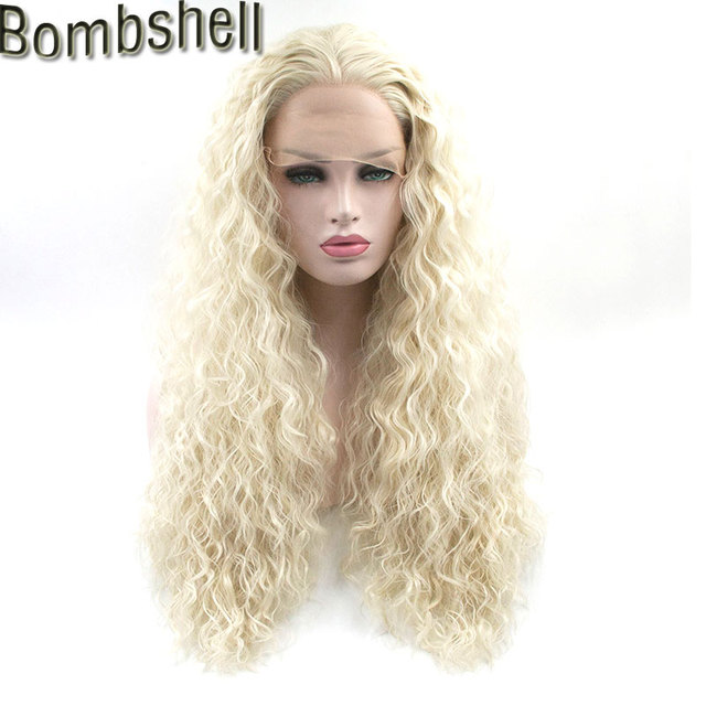 Bombshell White Blonde Loose Curly Synthetic Lace Front Wig Glueless