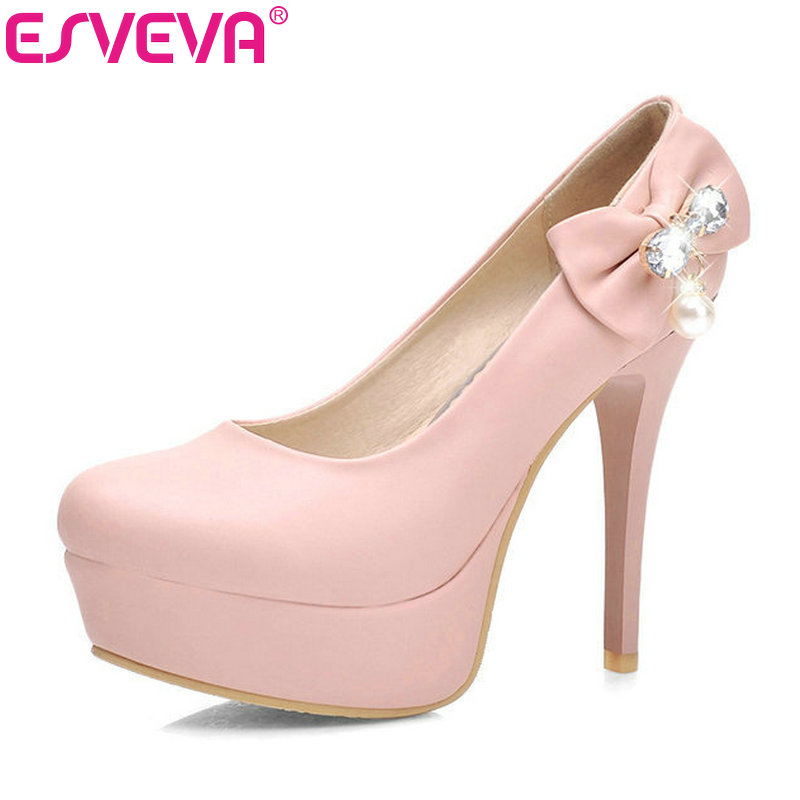 ESVEVA Thin High Heels Women Pumps Bow Tie Rhinestone Platform Slip On Round Toe Spring/Autumn Girls Party Shoes Size 34-42 Pink meotina women wedding shoes 2018 spring platform high heels shoes pumps peep toe bow white slip on sexy shoes ladies size 34 43