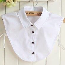 Chemise en Faux Col blanc, Col Simple, boutons, chemise Nep Kraag, cravate, motifs en coton, bureau OL