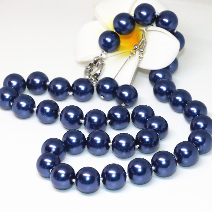 Jewelry Set Dark Blue Round...