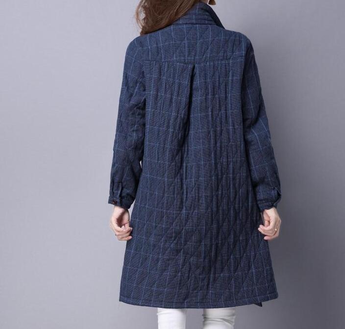 M Moyen Grand Coton Bleu Nouvelle Femmes taille Chaude marron Mode ardoisé longueur Moyen Carreaux À 2xl Printemps 2019 Manteau renforcé D'âge r41rw0