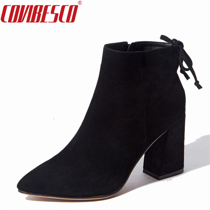 Womens Genuine Leather Shoes High Heels Ankle Boots Pointed Toe Autumn Winter High Quality Fashion Sexy