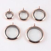 1pcs Rose gold Plain Twist Screw Floating Locket 316L Stainless Steel Memory Glass Pendant For Women