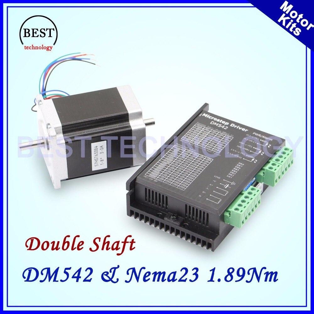 Nema23 57x76mm kit moteur pas à pas 3A 1.89Nm Double arbre 6.35mm DM542 Microstep 256 1.0-4.2A DC24-50v moteur pas à pas Double arbre