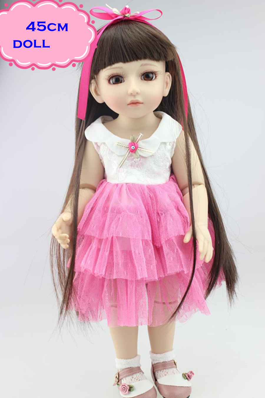 Latest Simulation SD/BJD Princess Doll About 18inch Made Of Full Silicone Vinyl Baby Dolls Toys Reborn For Kids Play Brinquedos handmade chinese ancient doll tang beauty princess pingyang 1 6 bjd dolls 12 jointed doll toy for girl christmas gift brinquedo