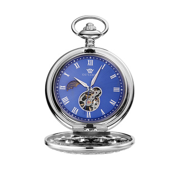 OUYAWEI Unisex Skeleton Pocket Vintage Watch Necklace Luxury Mechanical Chain Antique Fob Watches Relogio bolso Pendant