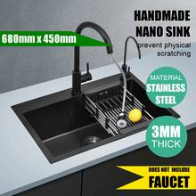 680x450mm Stainless Steel Single Sink Basin Kitchen Bowl Drain Basket Strainer Down Pipe Laundry Bathroom Kitchen Fixture Black(China)
