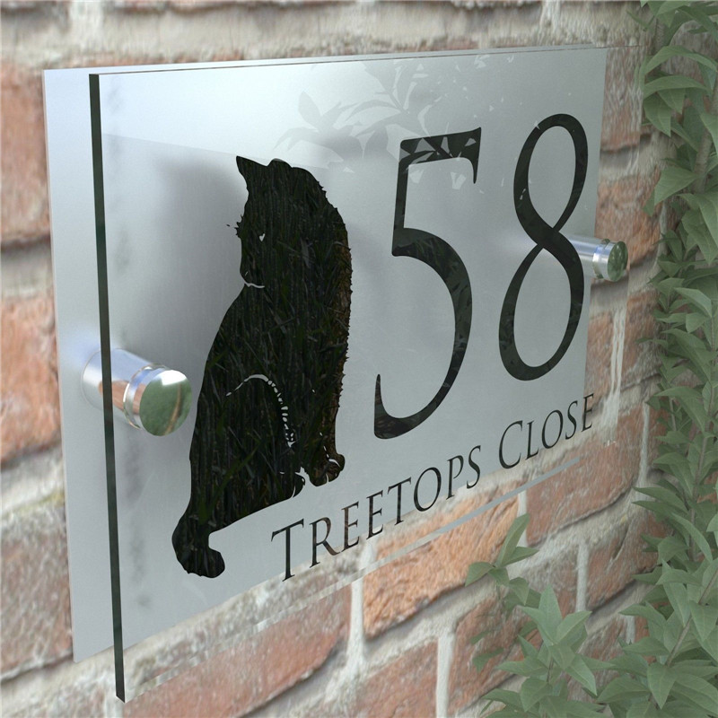 Modern Decorative House sign with CatModern Decorative House sign with Cat