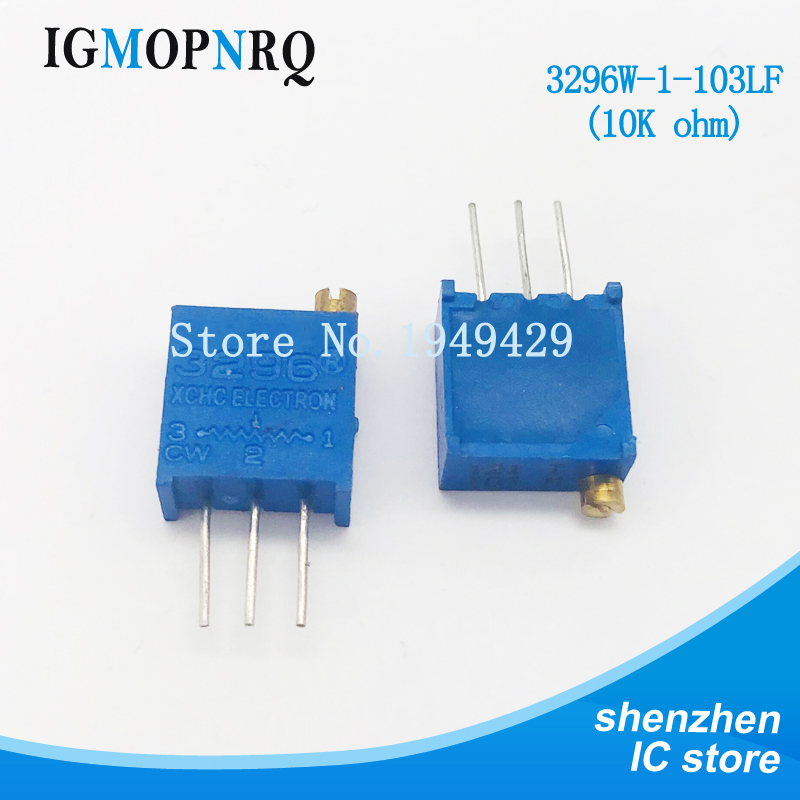 10Pcs/lot 3296W-1-103LF 3296W 103 10K ohm Top regulation Multiturn Trimmer Potentiometer High Precision Variable Resistor10Pcs/lot 3296W-1-103LF 3296W 103 10K ohm Top regulation Multiturn Trimmer Potentiometer High Precision Variable Resistor
