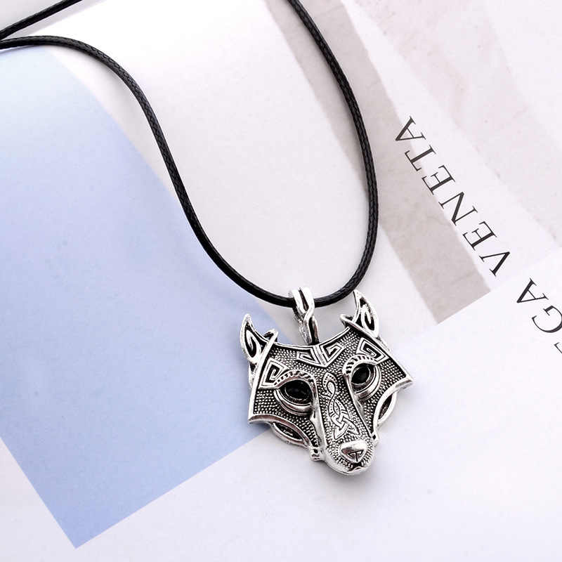 retro silver vintage wolf Vking pendant necklaces for men women unisex jewelry fj082