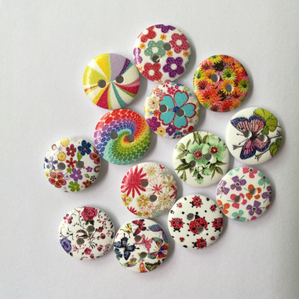 50Pcs 2 Holes Wood Buttons Craft Handmake Scrapbooking Sewing Clothing Accessories 15mm Buttons Flower Painted Sewing Crafts-in Buttons from Home & Garden on Aliexpress.com | Alibaba Group