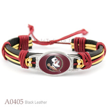 (10 PCS/lot) Florida State Seminoles Adjustable Leather Cuff Bangle Bracelet for Men & Women Casual Team Wristband Jewelry