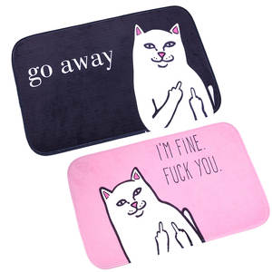 Cartoon Cat Go Away Printing Carpet Flannel Cat With Middle Finger Pattern Carpet Bathroom Non-slip Mat Home Decoration Door Mat