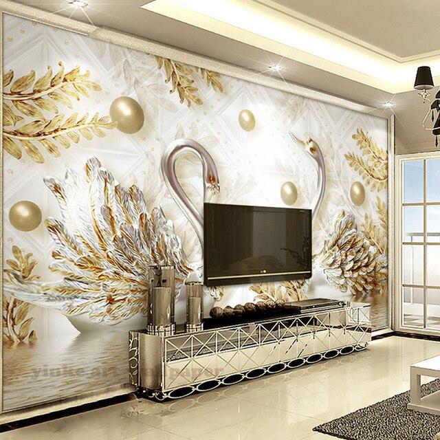 luxe 3d papier peint mural swan or feuille vague d 39 eau bijoux papier peint pour salon chambre. Black Bedroom Furniture Sets. Home Design Ideas