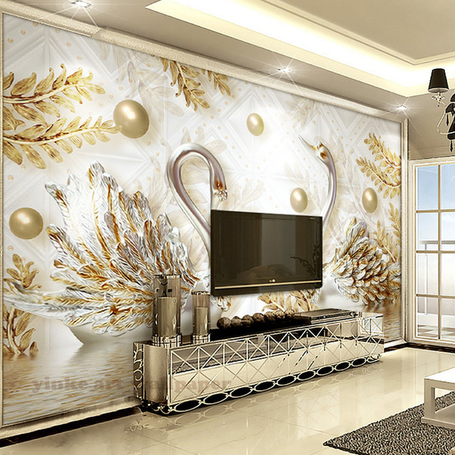 Luxury 3d wallpaper mural swan gold leaf water wave jewelry wall mural for living bedroom home