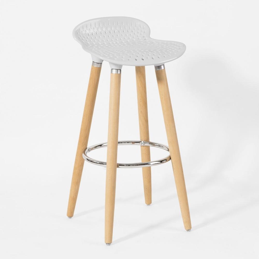 SoBuy FST35-W  Bar Stool Kitchen Breakfast Barstool, ABS-plastic Seat & Wooden Legs