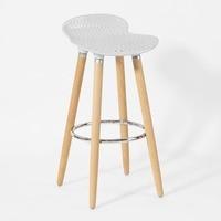 SoBuy FST35 W Bar Stool Kitchen Breakfast Barstool, ABS plastic Seat & Wooden Legs