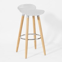 SoBuy FST35 W Bar Stool Kitchen Breakfast Barstool, ABS plastic Seat & Wooden Legs