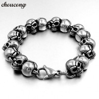choucong Real Titanium Steel Length 22cm Huge Heavy Solid Silver Men's Skeleton Skull bracelet Ghost bangle Biker Punk Jewerly