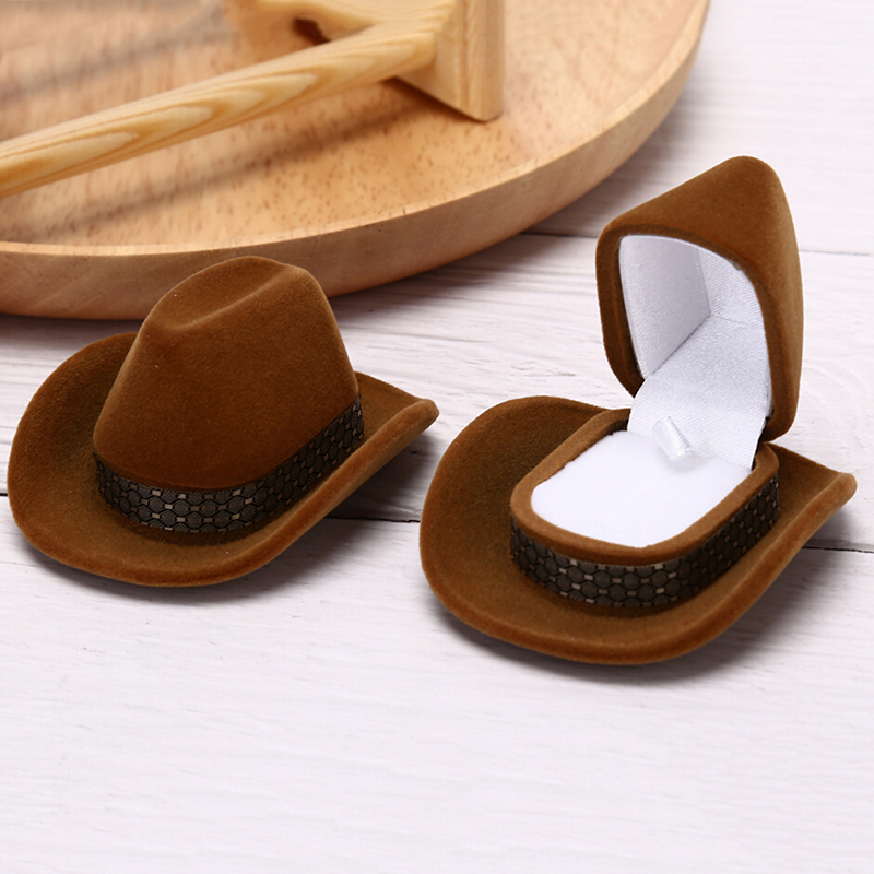 1 Pc Creative Cowboy Hat Shape Rings Box Velvet Jewelry Display Box Storage Case Jewelry Packaging Display