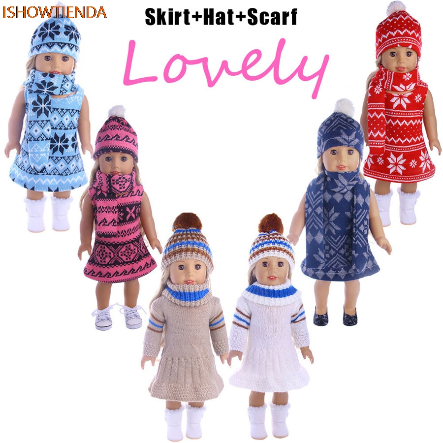 Skirt&Hat&Scarf Three-piece SuitFor 18 inch Our Generation American Girl Doll the United S