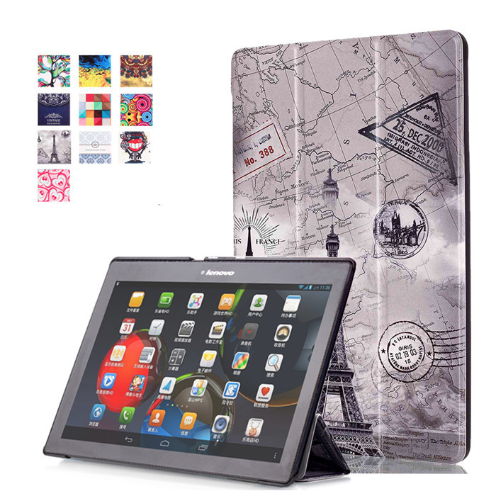 PU Leather Stand Cover Case for Lenovo Tab2 Tab 2 A10 30 A10-30 X30F TB2-X30F X103F 10.1 Tablet + 2Pcs Screen Protector case for lenovo tab 4 10 plus protective cover protector leather tab 3 10 business tab 2 a10 70 a10 30 s6000 tablet pu sleeve 10