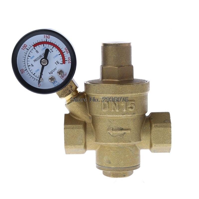 DN15 1/2 PN 1.6 Adjustable Brass Water Pressure Reducing Regulator Valve With Pressure Gauge 1 inlet 1 outlet liquefied lgp gas gauge pressure regulator green