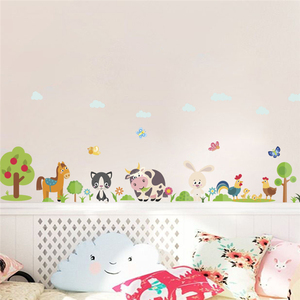 forest horse rabbit tree cow butterfly wall stickers for kids rooms home decor cartoon animals wall decals pvc mural art poster(China)