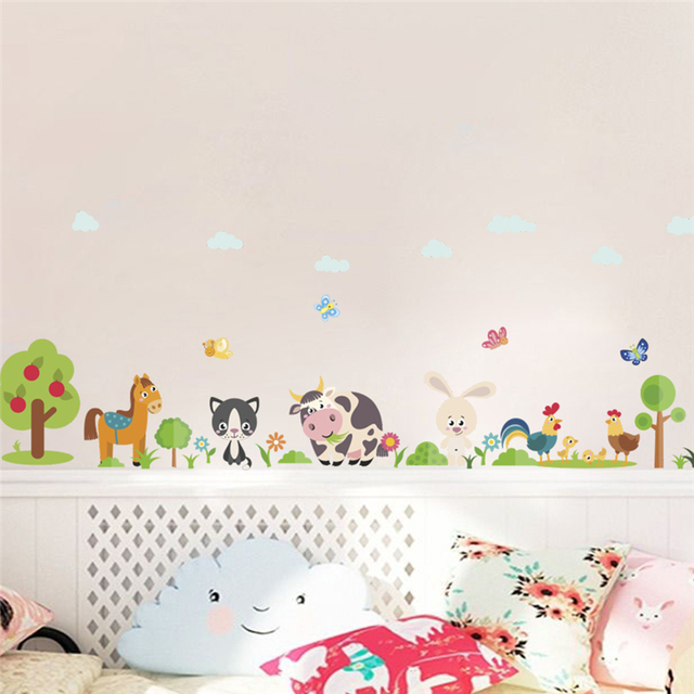 forest horse rabbit tree cow butterfly wall stickers for kids rooms home decor cartoon animals wall decals pvc mural art poster