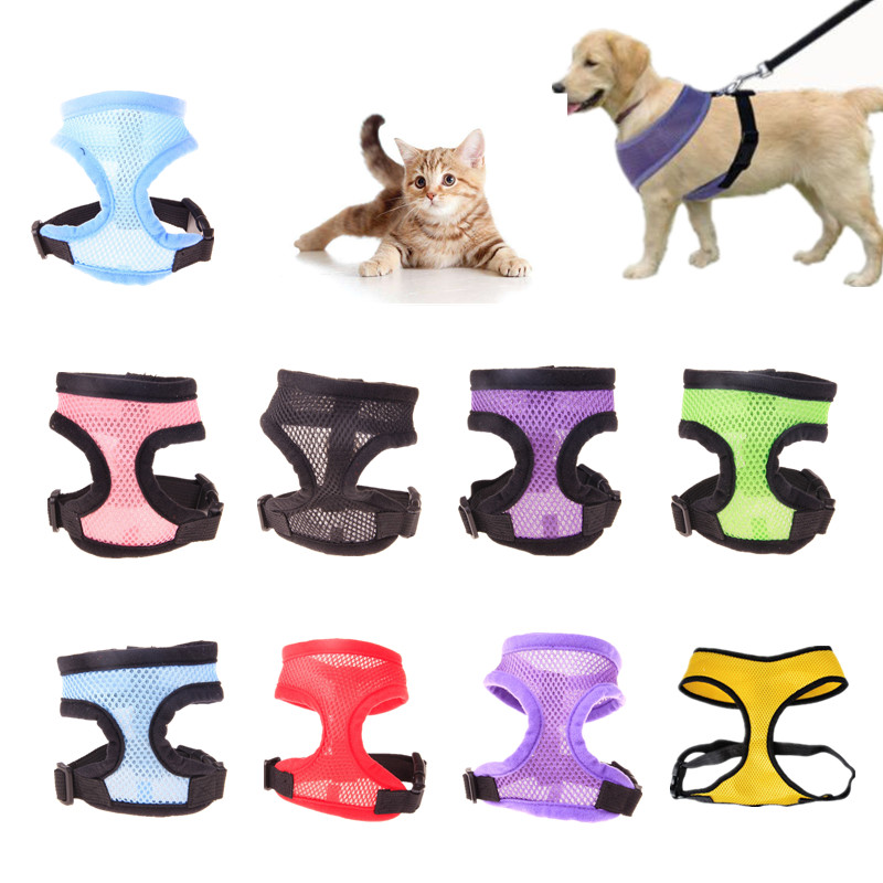 1pc Breathable Harness For Small Dog Puppy Cat Vest Harnesses Nylon Pitbull Neck Collar Chest Strap Dog Leash Pet Products