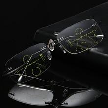 Gafas de lectura multifocales graduales para hombre, sin lentes de lectura multifocales montura de titanio, para presbicia de hipermetropía