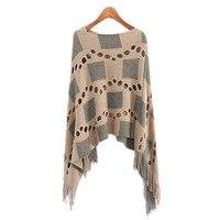 Autumn Women V Neck Batwing Plaid Fringed Stitching Irregular Tops Poncho Shawl Cape Hollow Sweater Blusas