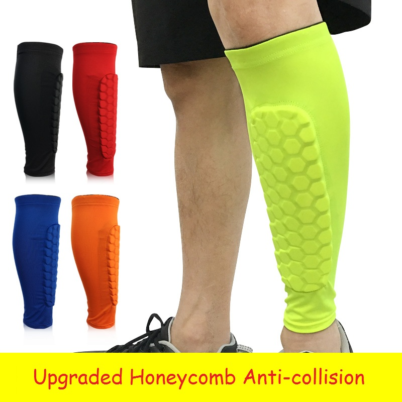 1Pair Professional Sport Safety Soccer Football Protector Breathable Calf Compression Shin Guard Honeycomb Anti-collision Brace