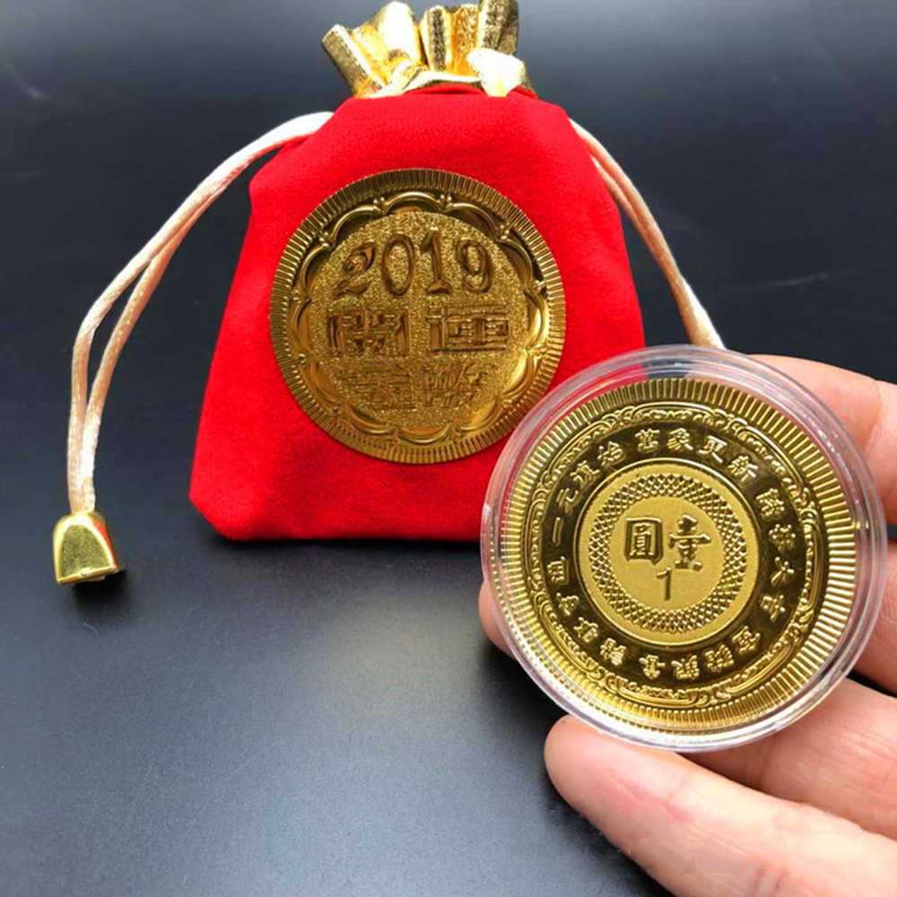 2019 Moeda Comemorativa Ano do Porco Porco Sortudo Oferece Dinheiro Moedas Coleção Presente de Ano Novo Banhado A Ouro Boa Sorte Em Casa decoração