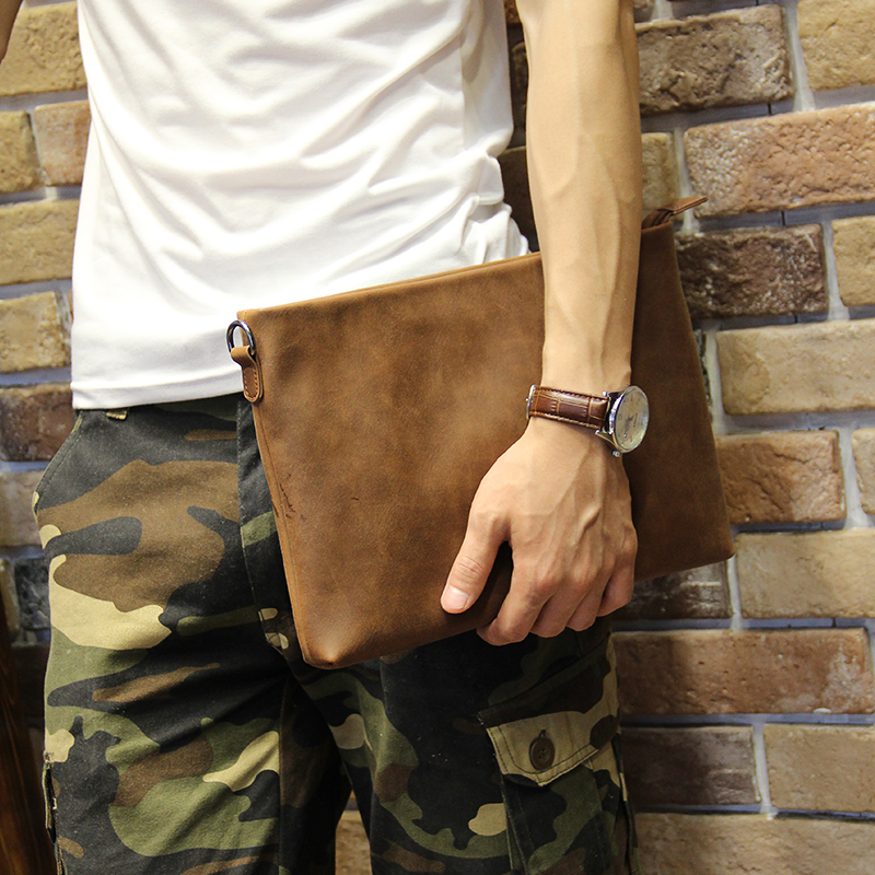 New Casual Crazy horse PU leather Men's Envelope Clutch Business Men Clutch Bags Solt Leather Large Capacity Hand Bags for Male