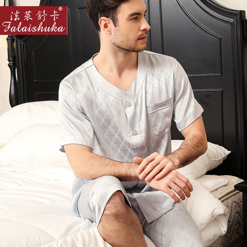 Sexy V-neck 100% Mulberry Silk Pajamas Sets Men Short Sleeve+middle Pants Elegance Natural Silk Pyjamas Casual Male Homewear