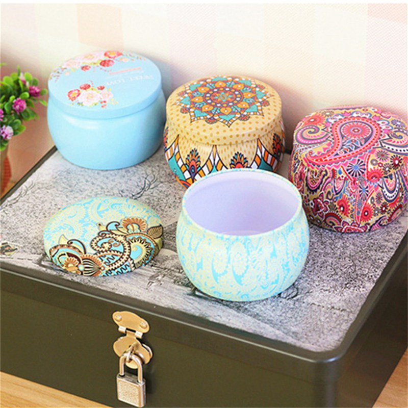 Home Garden Personality Candy Box Drum-shaped Candy Cookie Box Festive Party Supplies Rose Tea Pot Tin Box Small Fresh
