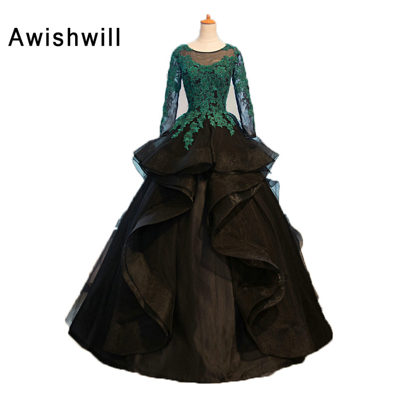 Gorgeous Black Gala Evening Dresses 2019 Lace Appliques Ball Gown Robe de Soiree Long Sleeve Elegant Evening Gowns Vestido Longo