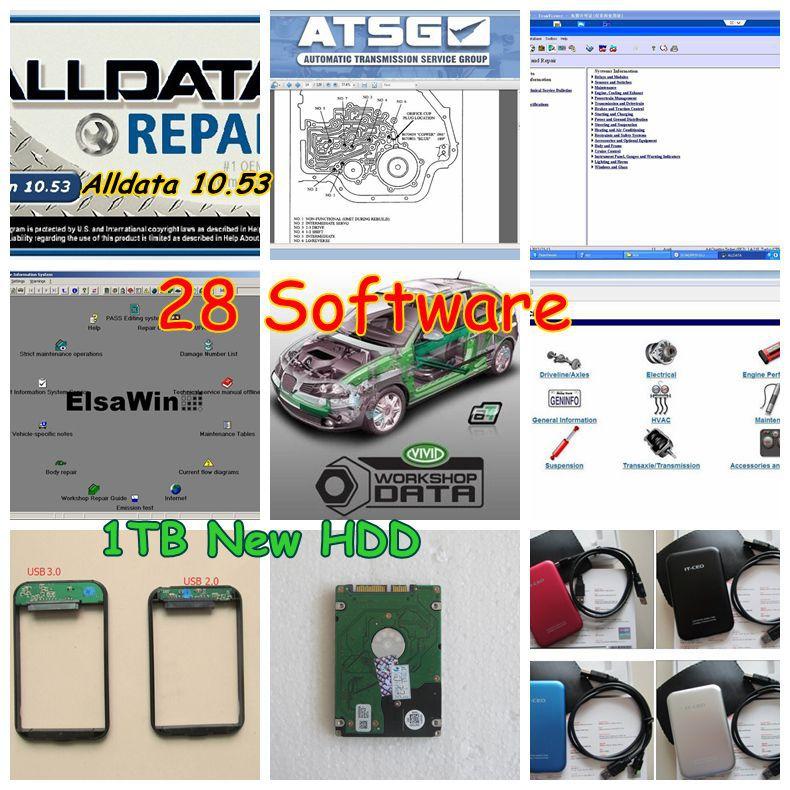 Prix pour 2017 Date Alldata logiciel de réparation Automobile Toutes Les données 10.53 + Mitchell ondemand logiciel de réparation de voiture + manager plus 28in1 de tb usb disque dur