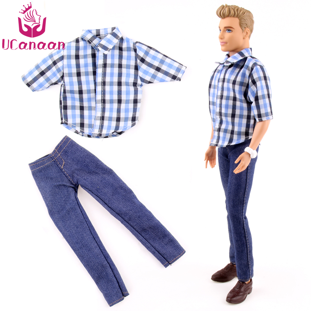 UCanaan Toys 1 PC Ken Doll's Clothes Suit Casual Wear Plaid Doll Clothes Jacket Pants Outfits For Ken Barbie Dolls Accessories nk one set casual wear t shirt trousers summer outfit short pants ken clothes for barbie ken doll accessories wholesale